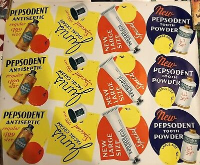 """Vintage 1950's Pepsodent Toothpaste Advertising Lithograph 35"""" x 41"""" VG"""