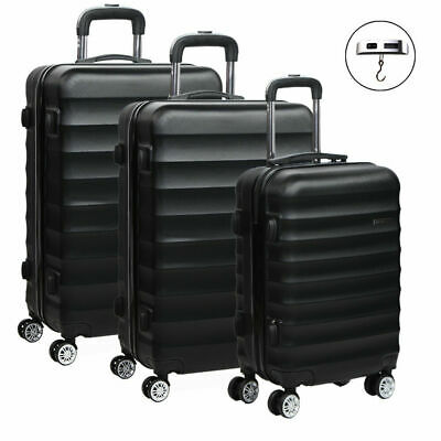 Wanderlite 3pc Luggage Suitcase Trolley Set TSA Black Hard Case Lightweight