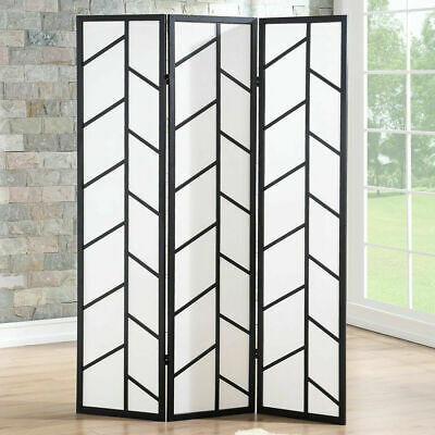 3 Panel Room Divider Folding Privacy Climbing Screen Wood Frame Black