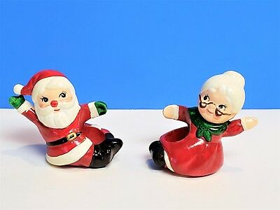 Vintage Lefton Santa and Mrs Claus Ceramic Candle Stick Holders