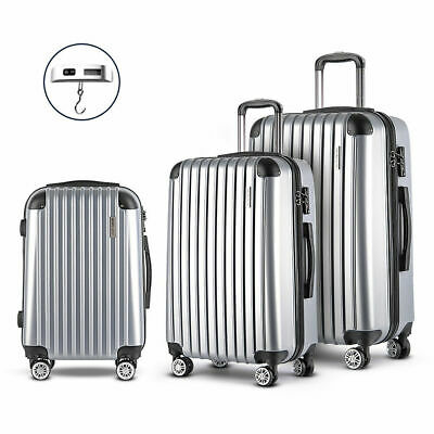 Wanderlite 3pc Luggage Suitcase Trolley Set TSA Silver Hard Case Lightweight