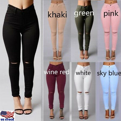 7cc10a2080f Women s Denim Skinny Ripped Pants High Waist Stretch Jeans Slim Pencil  Trousers