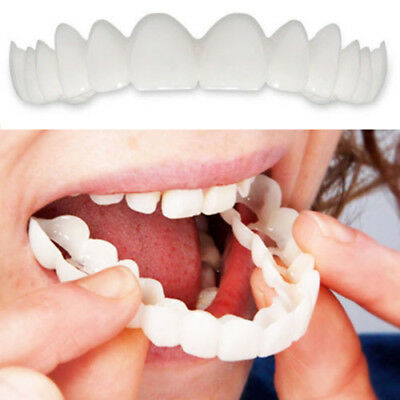 2pcs Unisex Snap On Smile Comfort Fit Flex Finti Denti Top Veneer Protesi Squi
