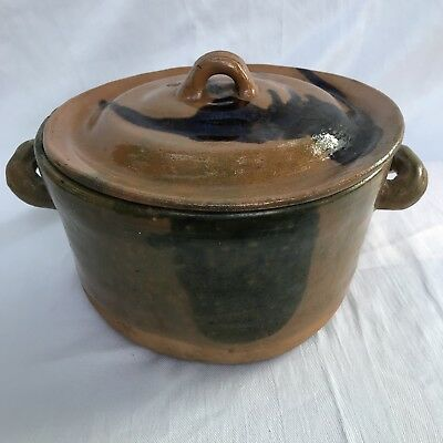 Antique Terra Cotta Handmade Pot With Lid  Artistic Cookware Natural Clay