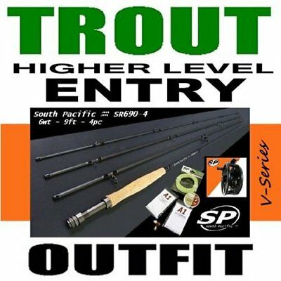 South Pacific HIGHER ENTRY TROUT Fly Fishing Outfit Combo - rod reel line leader