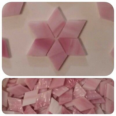 """100 - 1/2"""" x 1"""" Diamond Mosaic Tiles Stained Glass Mixed Pink Rhombus"""