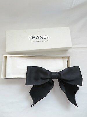 Chanel vintage black silk bow hair clip barrette for lace cardigan dress gown