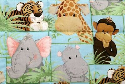 "HANDMADE ""JUNGLE BABIES"" 35x43in COTTON UNISEX BABY/TODDLER  QUILT -GIFT IDEA"