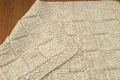 Thick handmade natural beige color 26x30in unisex baby blanket/afghan-gift idea