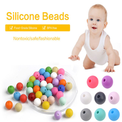 20X Baby BPA Free Silicone Teething Necklace Nursing Teether Round Bead 9mm 15mm