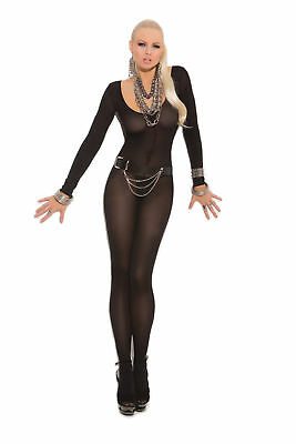 Elegant Moments Long Sleeve Open Crotch Zebra Black//Nude Bodystocking Body