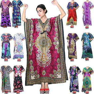 Pack Of 5 Long Beach Maxi Wholesale Kaftan Silky Dress Assorted Colors One Size