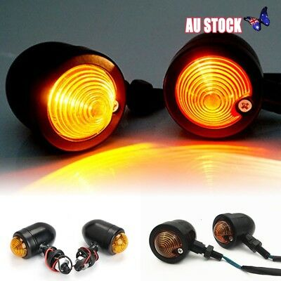 4x Black Motorcycle Turn Signal Indicator Light For Harley Chopper Cafe Racer