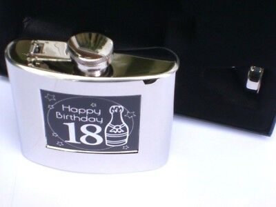 """18th BIRTHDAY"" 6oz Stainless Steel HIP FLASK SET in a BLACK LIDDED GIFT BOX-NEW"