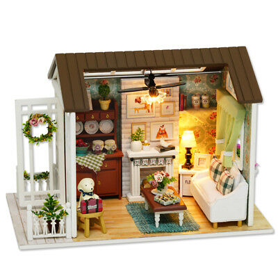Doll Mini House Wooden Studio Kit with LED Light Furniture DIY Handcraft Toy New