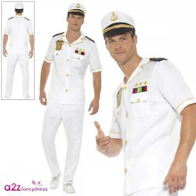 Uomo Capitano Costume Adulto Marinaio Militare Ufficiale Uniforme Fancy  Dress e0d50acf99c