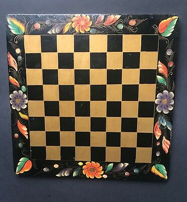 Vintage Dutch Folk Art Hand Painted Chess Board