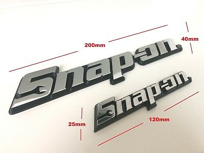 TWO Snap-On Tools 3D Chrome Badges Tool Box Logo Decal Snap On Sticker (2 Sizes)
