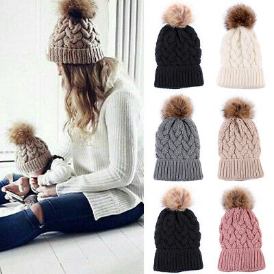 Women's Outdoor Winter Warm Chunky Knit With Fur Pom Pom Beanie Hat Caps New Hot