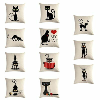 Cute Animal Cat Printed Cushion Pillowcase Linen Home Office Car Pillowcase AZ