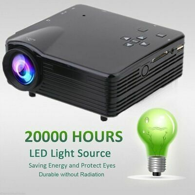 7000 Lumens HD LED LCD Projector Home Theater PC AV TV VGA USB HDMI US Stock BT
