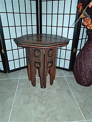 Antique Burmese Octagonal Hand Crafted Red and Black Lacquered Side Tea Table