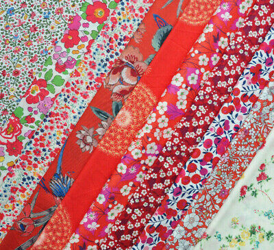 """NEW 10 LIBERTY Tana Lawn 5"""" x 5"""" Patchwork scraps 'RED'"""