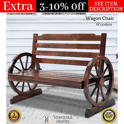 NEW Solid Wooden Wagon Wheel Seat Bench Outdoor Garden Patio Chair Furniture