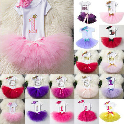 Toddler Baby Girl First 1st Birthday Outfit Tutu Skirt Dress Cake Smash Headband
