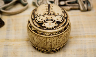 Vintage Scarab Beetle Box -Handmade Ancient Egyptian Box- Antique Storage Box