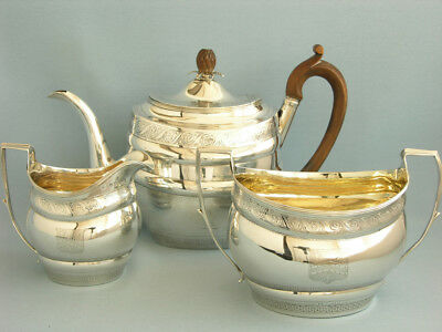 Sehr Nobles Tee-Set, London 1806, Massiv Sterlingsilber, 1,4 Liter, George Iii.