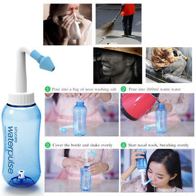 300ml Nasal Wash Neti Pot Nose Clean Bottle Irrigator Saline Allergic Tool jhf