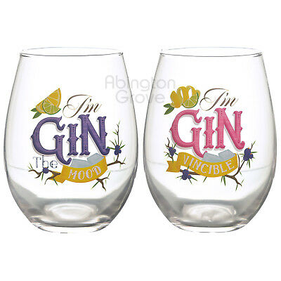 Set of 2 Novelty Gin Glasses Stemless Balloon Cocktail Funny Tumblers Xmas Gift