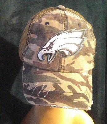 053c3eca Philadelphia Eagles Camo Baseball Cap-Hat Distressed Mesh Back Adjustable  Strap