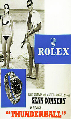 Reproduction 1965 Rolex Submariner tie in ad with James Bond in Thunder Ball