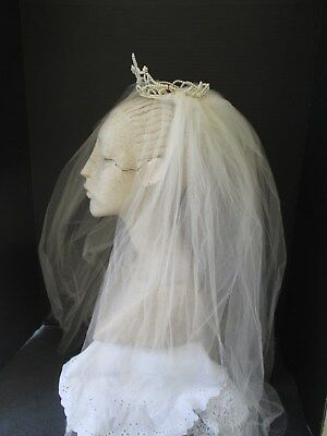 Vintage Net Tulle Bridal Veil W/ Pearl Crown Headpiece.. Wedding