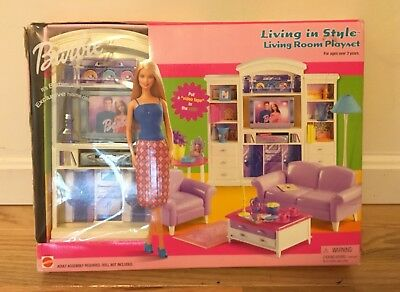 Barbie Living In Style Living Room Playset 67553 NRFB Sealed 2002