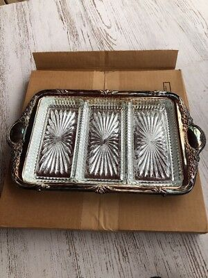 Sheridan Silver-plated Triple Relish Tray with Carry Handle Glass Dishes
