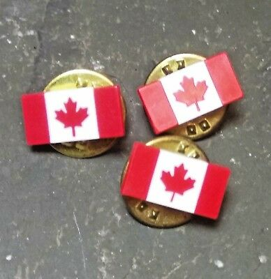 Red White Maple Leaf Canada Flag Tie Tac Lapel Hat Pin Plastic Tiny Small Lot Of