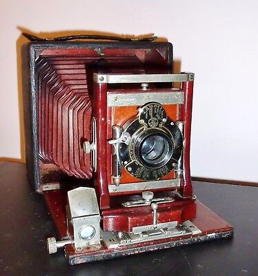 4X5 Display View Camera Red Bellows /Non Working Lens/Missing Body Parts