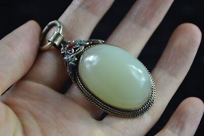 Rare Collectible Old tibet Silver flower inlay nature white jade Noble pendant