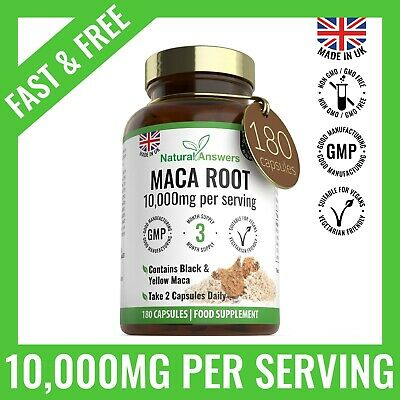 Maca Root Extract Pills 10,000mg 180 Capsules SEXUAL Health ENERGY & STAMINA UK