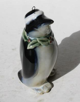 Penguin Figure w-Christmas Stocking Hat Holly-Berrie Ornament Porcelain Unmarked