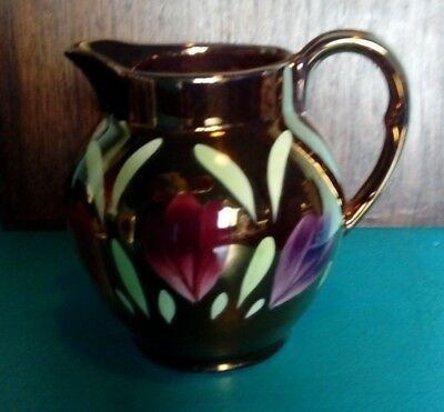 Myott copper lustre ware jug hand painted flowers 4 inches high x 4 inch wide