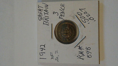 Nice grade 1942 Britain 3 Pence (Threepence) Silver Coin