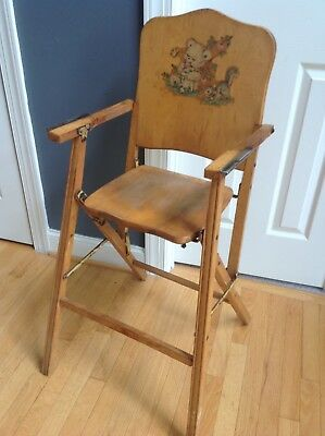 Antique Wooden High Chair Childrens Folding Collapsible