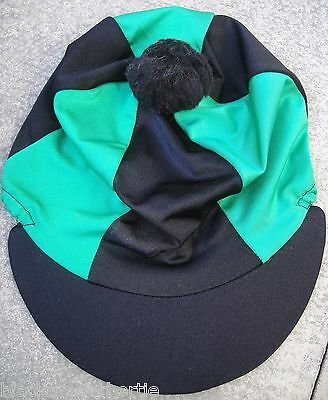Riding Hat Silk Skull cap Cover BLACK & EMERALD GREEN With OR w/o Pompom