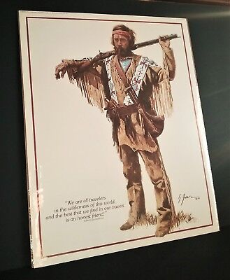 Gerald Farm 1986 Leanin' Tree Sidekick Print Wilderness Traveler Signed Poster