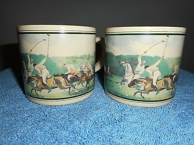 Vintage RALPH LAUREN POLO MUGS 1890'S POLO MATCH Painting Made in JAPAN NOS Pair