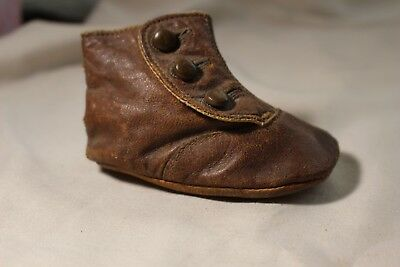 Antique Victorian Baby Toddler Children's Shoe Brown Leather Button Up (SINGLE)